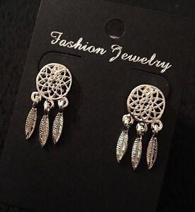 Image Is Loading Dreamcatcher Earrings Dangle Stud Silver Ethnic Native American