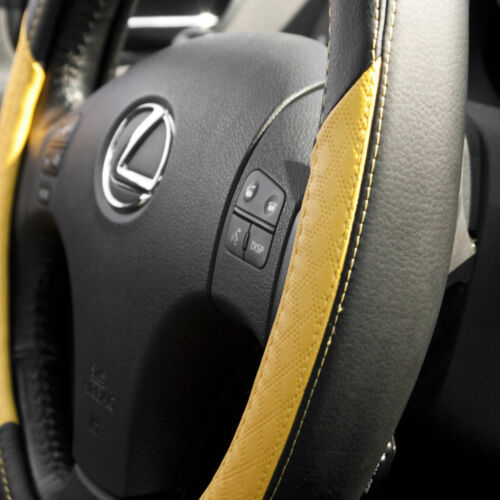 Black and Yellow Nice Grip Sporty Slip-On Steering Wheel Cover Good Fit Comfort