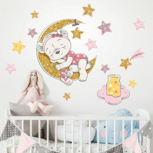 R00544 Stickers Adesivi Murali Camerette bambini animali luna orsetto stelle
