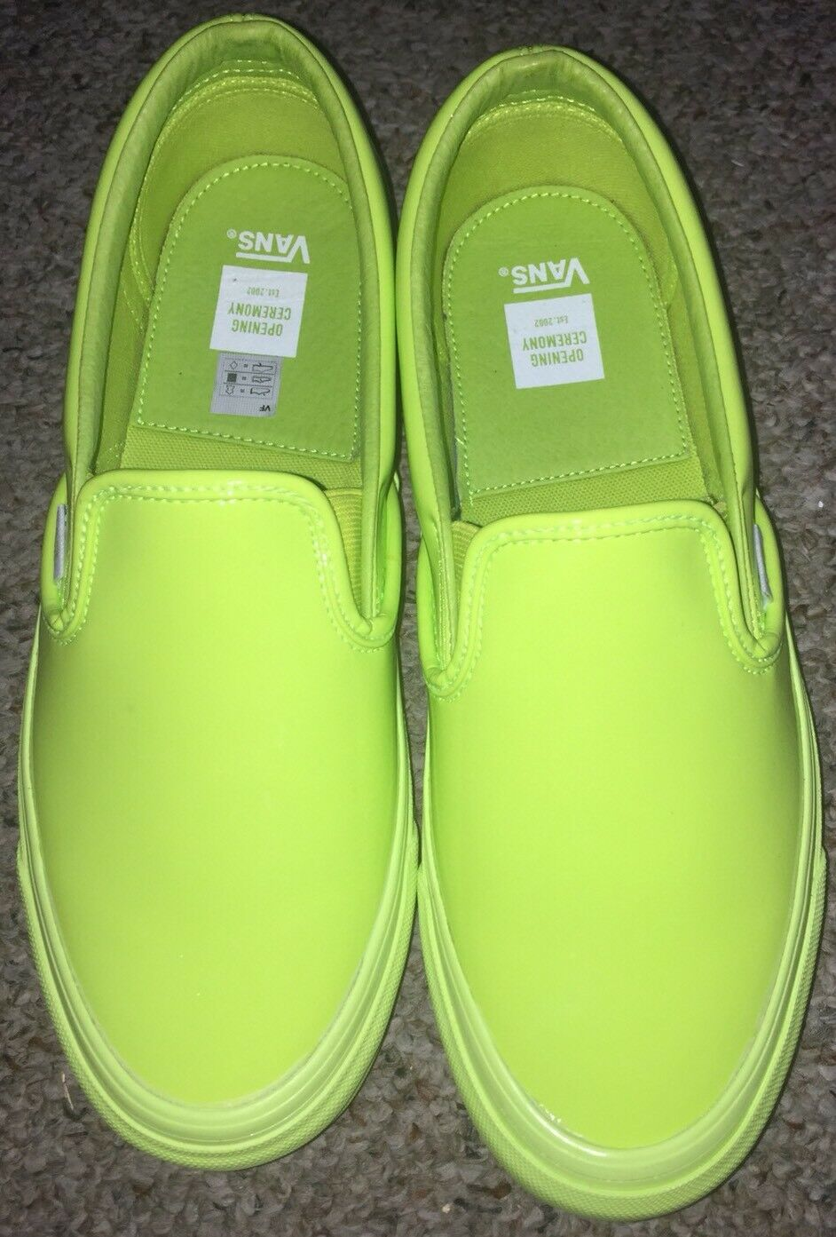 Vans x Opening Ceremony Classic À Enfiler OG Patent Cuir Homme Taille 9 vert citron