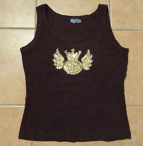 T-Shirt-38-40-S-Premium-Jeans-by-John-Baner-Achselshirt-Top-braun-gold-Paillette