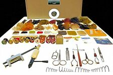COMPLEAT FLY TYING KIT  DVD, Tools, Feathers, Material, Hooks, Storage 131 Items