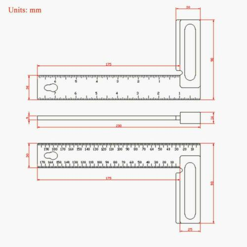 200mm L-Square Angle Ruler Aluminum Precision Woodworking Inch//Metric 851 inch