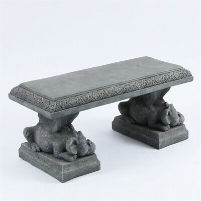 Swell Luxen Home 39 Dragon Decorative Cement Garden Bench In Stone Ebay Inzonedesignstudio Interior Chair Design Inzonedesignstudiocom