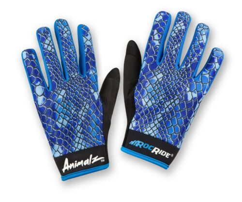 RocRide Animalz Cycling Gloves Blue Viper Full-Finger Screen Compatible Tips