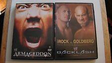THE ROCK VS GOLDBERG WWE BACKLASH DVD & WWE ARMAGEDDON DVDS