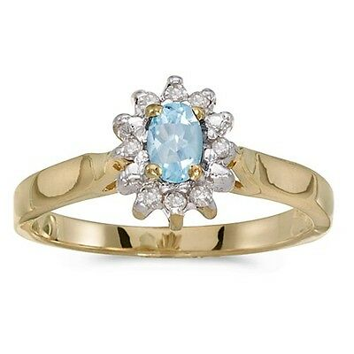 20161011. Certified 14k Yellow Gold Oval Aquamarine And Diamond Ring 0.22 ... Lot 20161011