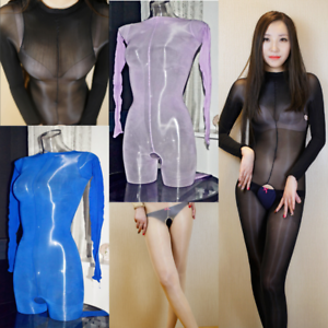 eaaf5c1598a Details about Women Men Ultra Shiny Jumpsuit Sheer Playsuit Open   Closed  Crotch Bodystocking