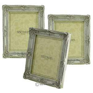 THREE-Shabby-amp-Chic-Vintage-Ornate-Antique-Silver-Photo-frames-10-034-x8-034-Pictures