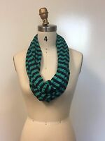 Gtg Collection Women's Striped Multi Loop Infinity Scarf Teal/black Stripe