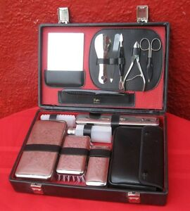 Vintage 14 Pc Griffon Germany Travel Kit W/ Black Faux Leather Case ✞