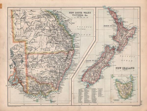 1901 Viktorianisch Landkarte ~ Neu South Wales Victoria ~ New Zealand &