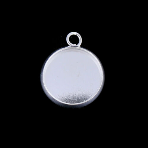 ❤ 10 x Plated Blank Pendant TRAY Cup Setting For 12mm Cabochon CHOOSE UK Stock ❤