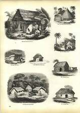 Old Engravings South American Indian Hut Irish Cabin Cotty House