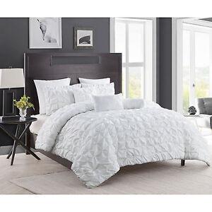 8 piece white comforter set king size pintuck modern contemporary design bedding ebay. Black Bedroom Furniture Sets. Home Design Ideas