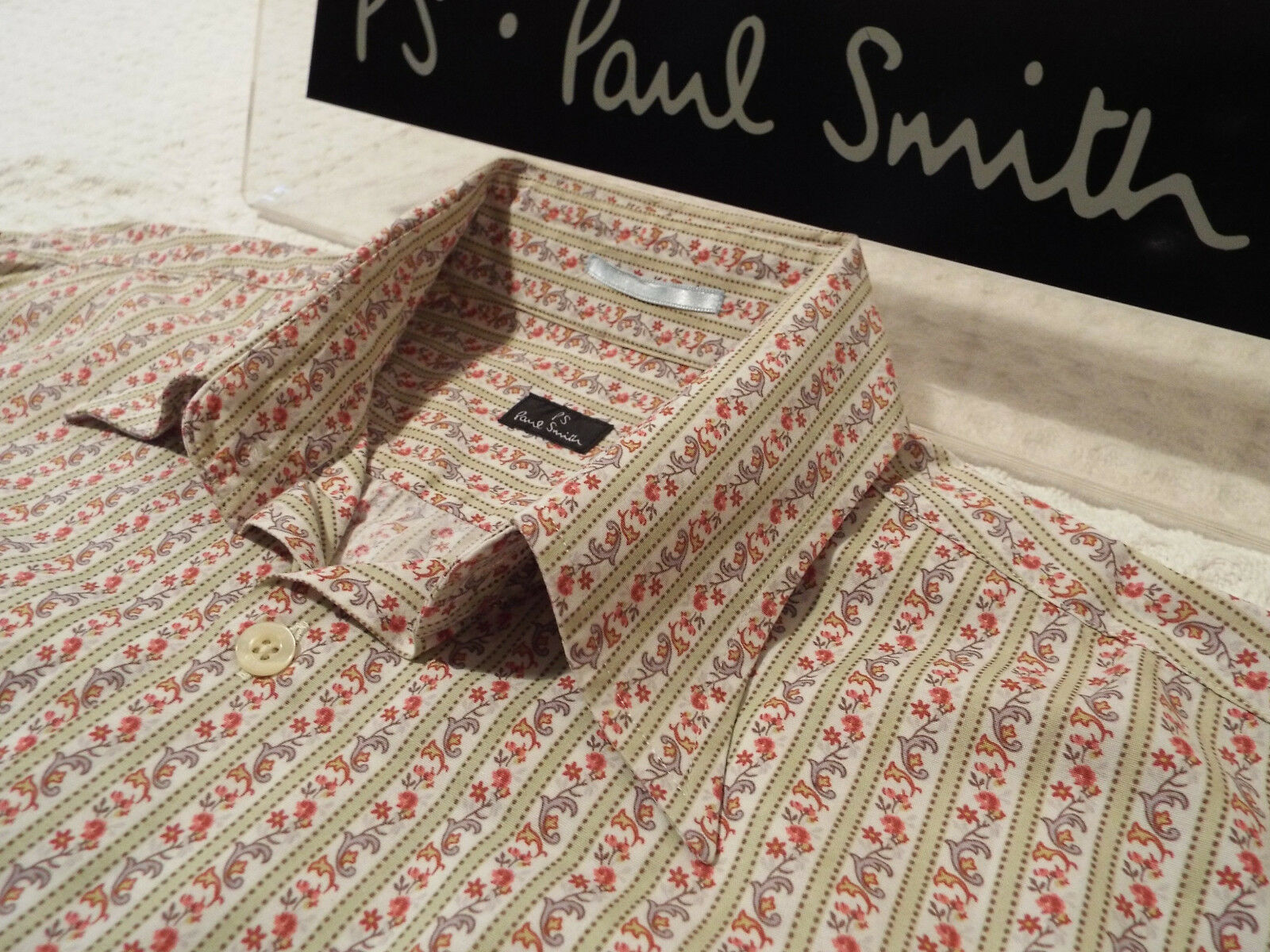 PAUL SMITH Mens Shirt  Size S (CHEST 42 )  RRP +  FLORAL STYLE STRIPES