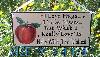 Apple I Love Hugs Kisses Help With Dishes Sign Country Kitchen Cucina Decor Ebay