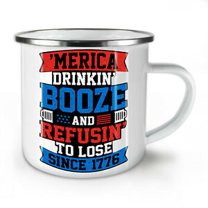 America Drinking Booze NEW Enamel Tea Mug 10 oz | Wellcoda