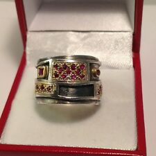Rare Unique KONSTANTINO Sterling Silver & 18k Yellow Gold Ruby Pave Ring. Sz.7 J
