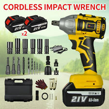 21v 520nm Cordless Electric Impact Wrench Gun 12 Driver Drill With 2 Battery