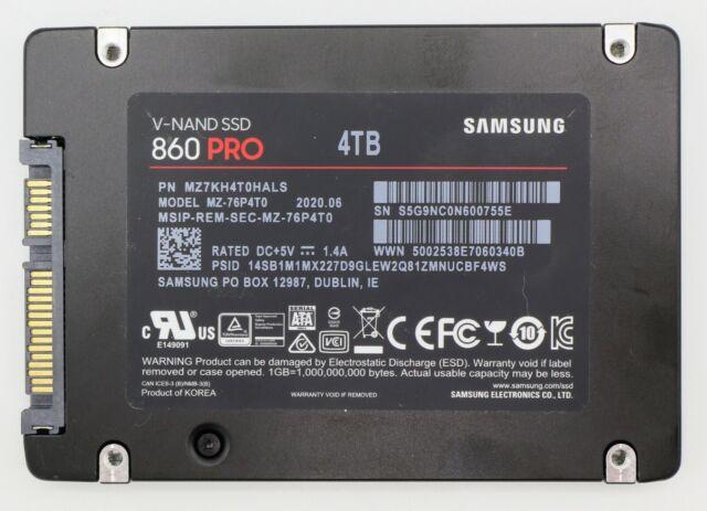 "4TB Samsung 860 Pro Series 2.5"" SATA III V-NAND 2-bit MLC Internal Solid State"