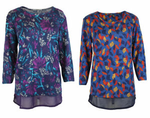 EWM-Isle-Damen-Marineblau-Blatt-lila-Floral-Chiffon-Saum-Weich-Jersey-Tunika-Top