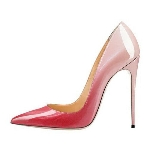 WOMEN SHOES DESIGNER FADING PINK PATENT STILETTO HEEL PUMPS 12CM 10CM