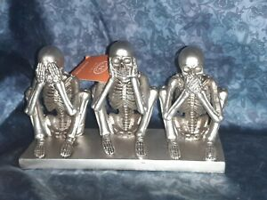 Martha-Stewart-Halloween-Decor-See-Hear-Speak-No-Evil-Silver-Skeletons-New-trio