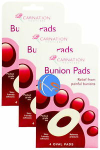 3-PACKS-OF-CARNATION-BUNION-PADS-4-OVAL-PADS-REMOVAL-SELF-ADHESIVE-PLASTER