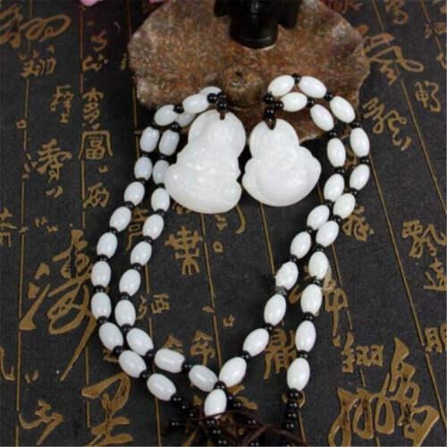1pc Unisexe Lumière Naturelle Jade sculpté à la Main Bouddha Guan Yin Pendentif Corde Collier
