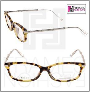 c6ad9d5e36 GUCCI 3801 Silver Metal Bamboo Havana Bio Based RX Eyeglasses ...