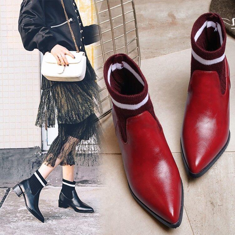 Modische Damenschuhe Stiefeletten Blockabsatz gestrickt Spitz Ankle Stiefel Gr.47  | Hochwertige Produkte
