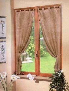 Coppia tende beige raso 60x150 tenda finestra cucina for Tende a vetro per cucina classica