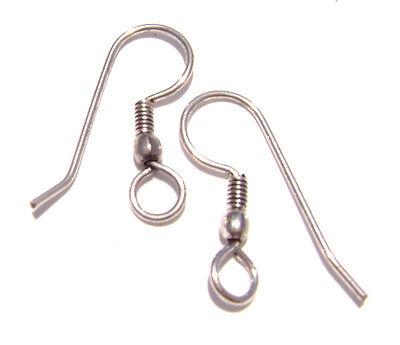 A2285FN Earwire, Earring Hook, Antiqued Silver ptd Copper FishHook Wire - 50 Qty