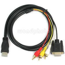 Nuevo HDMI HDTV a VGA 3 RCA Adaptador Convertidor Cable para Vídeo AV TV 1.5M