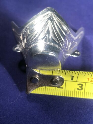 New Western Austin Accent Cowboy Boot Toe Tip Rand Silver Engraved Medium