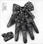 Short lady Gloves Black PU Women Lady Gaga Silver Stud Bows
