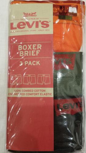 S XL BLACK//GREEN//ORANGE 3 PACK LEVI/'S MEN/'S COTTON BOXER BRIEF SIZES M