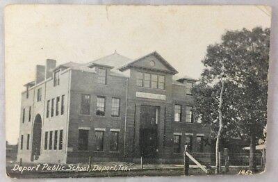 1915 Postcard Deport Public School Deport Texas Lamar ...