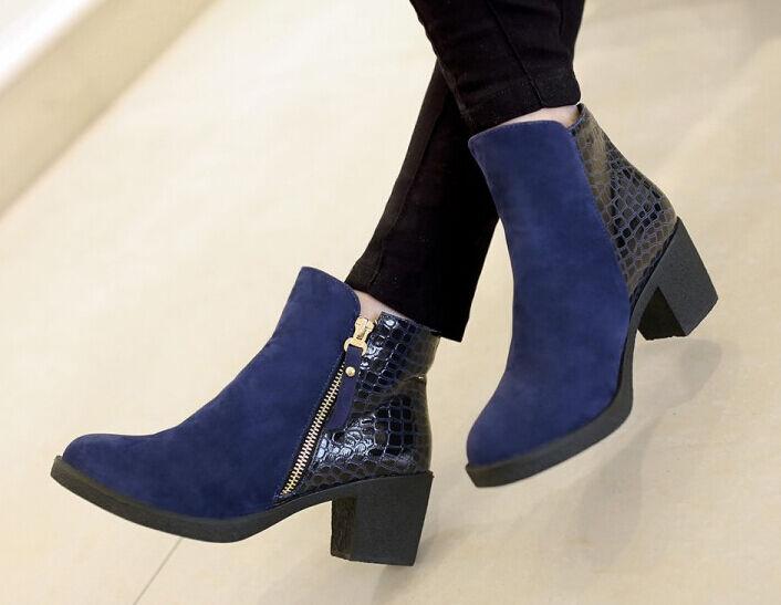 Bottes hiver hauts confortable chaussures pour femmes talon 5 cm bleu 8716