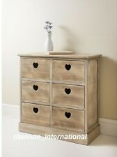 MODERN HOLLY DESIGN 6 DRAWER CHEST UNIT BASKET DRAWER WITH HEART SHAPE HANDLES