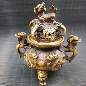 Chinese-Antique-Brass-Engraving-Dragon-Incense-Burner-Xuande-Year