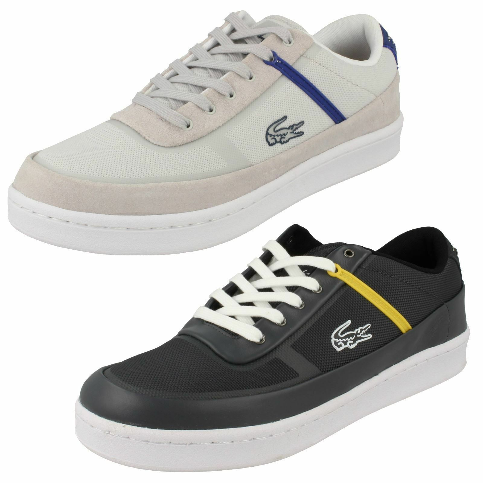 Hombre Lacoste Gris Trainers Court Line Lace Up Trainers Gris In Blanco And Negro f1e6d5