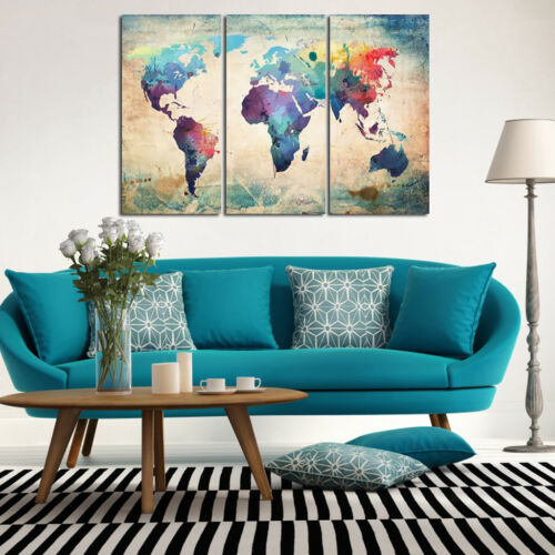 Map Wall Art Canvas Print Painting Home Office Room Hallway Decor No Frame