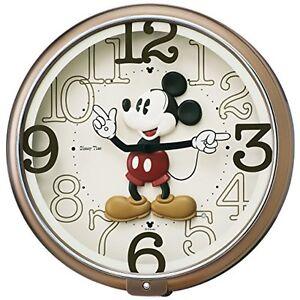 SEIKO-Disney-Mickey-Mouse-Wall-Clock-Brown-Metallic-F-S-w-Tracking-Japan-New