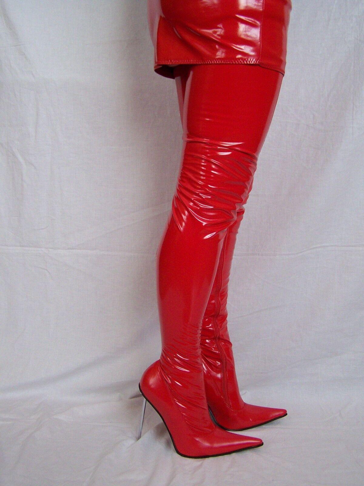Nero OR rosso rosso rosso PATENT-LACK-STRETCH HIGH stivali Dimensione 5-16 HEELS-5,5 -- POLAND 81d61f