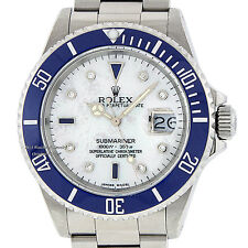 MENS ROLEX SUBMARINER 16610 S/STEEL BLUE DIAMOND & SAPPHIRE CERAMIC DATE WATCH