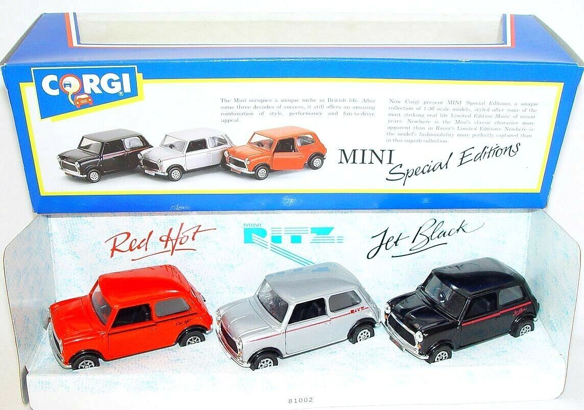 Corgi Toys 1 36 Morris Mini Cooper Jet nero Ritz rosso Caliente 3 Car Set 93715 MIB`91