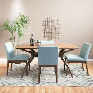 Terrific Details About Katherine Natural Wood Finish Curved Leg Rectangular 5 Piece Dining Set Ibusinesslaw Wood Chair Design Ideas Ibusinesslaworg