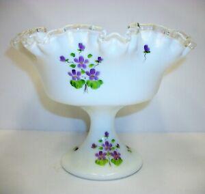 Vintage-Fenton-Silver-Crest-Ruffled-Pedestal-Compote-Bowl-Violets-Artist-Signed